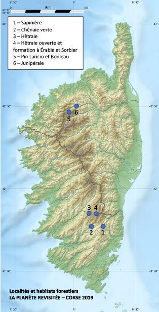 Localités et habitats forestiers échantillonnés en 2019 © Eric Gaba Wikimedia Commons user: Sting