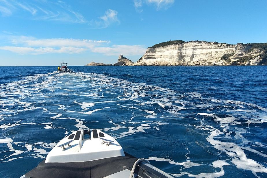 Route sur site avec les bateaux de l'Office de l'Environnement de la Corse